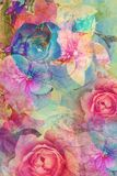 Vintage floral, romantic background. Vintage romantic background with roses and hydrangeas Stock Image
