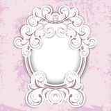 Vintage Floral Round Frame Stock Photo