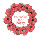 Vintage floral round frame. Poppies old style Royalty Free Stock Images