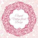 Vintage floral round frame. Vector illustration wreath with flowers on linear seamless background. royalty free illustration