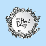 Vintage floral round vector frame Stock Images