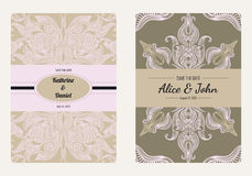 Vintage floral save the date or wedding invitation card collection. Retro vector romantic card template. Perfect for wedding invitations, wedding cards Stock Photos