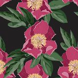Vintage floral seamless background with blooming peony. Illustration for use in interior design, artwork, dishes, clothing, packaging, greeting cards, store vector illustration