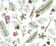 Vintage Floral Seamless Background with Fern Leaves Royalty Free Stock Images