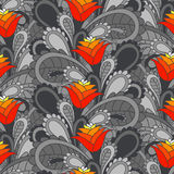 Vintage floral seamless background. Seamless gray background with red flowers stock illustration