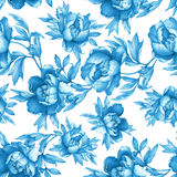 Vintage floral seamless blue monochrome pattern with flowering peonies, on white background. Stock Image