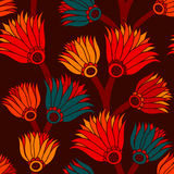 Vintage floral seamless. Seamless brown background with red, yellow and blue flowers stock illustration