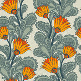Vintage floral seamless. Seamless gray background with yellow flowers vector illustration