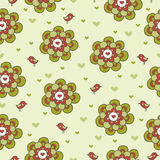 Vintage floral seamless pattern with birds. Vector seamless illustration with flowers and birds on a green background Stock Image