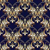 Vintage floral seamless pattern. Dark blue vector background wit. H hand drawn gold paisley flowers, swirls, lines, leaves, circles, dots. Damask ethnic Vector Illustration