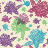 Vintage floral seamless pattern with engraved colourful clovers Royalty Free Stock Images
