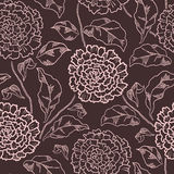 Vintage floral seamless pattern with hand-drawn dahlia flowers. Stock Photography