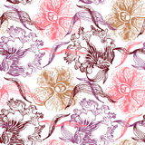 Vintage floral seamless pattern. Hand drawn Stock Image