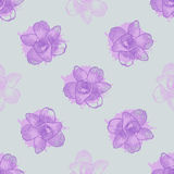 Vintage floral seamless pattern with hand drawn orchids Royalty Free Stock Images
