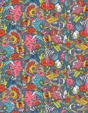 Vintage floral seamless pattern with humming bird Royalty Free Stock Images