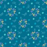 Vintage floral seamless pattern iris and birds Stock Photo