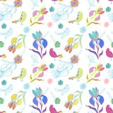 Vintage floral seamless pattern iris and birds Royalty Free Stock Images
