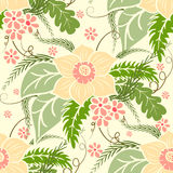 Vintage floral seamless pattern. Large bouquets of flowers and leaves on a light background. Stock Photo