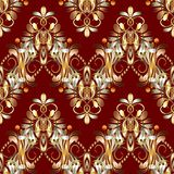 Vintage floral seamless pattern. Red vector background with hand Royalty Free Stock Images