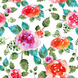 Vintage floral seamless pattern with rose flowers and leaf. Print for textile wallpaper endless. Hand-drawn watercolor. Elements. Beauty bouquets. Pink, red stock illustration