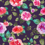 Vintage floral seamless pattern with rose flowers and leaf. Print for textile wallpaper endless. Hand-drawn watercolor Royalty Free Stock Photography