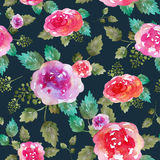 Vintage floral seamless pattern with rose flowers and leaf. Print for textile wallpaper endless. Hand-drawn watercolor Stock Images