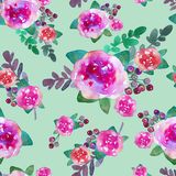 Vintage floral seamless pattern with rose flowers and leaf. Print for textile wallpaper endless. Hand-drawn watercolor Stock Photo