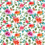 Vintage floral seamless pattern with rose flowers and leaf. Print for textile wallpaper endless. Hand-drawn watercolor Stock Photography