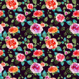 Vintage floral seamless pattern with rose flowers and leaf. Print for textile wallpaper endless. Hand-drawn watercolor Stock Image
