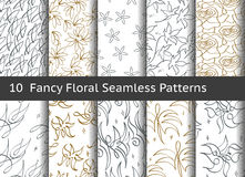 Vintage floral seamless pattern.  Set of 10 linear motifs Stock Photography