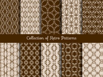Vintage floral seamless pattern set. Retro asian tile samples on sepia background Royalty Free Stock Photo