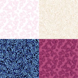 Vintage floral seamless pattern set. Set of rose backgrounds. Easily editable Royalty Free Stock Images