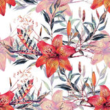 Vintage floral seamless watercolor pattern Stock Images