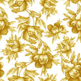 Vintage floral seamless yellow monochrome pattern with flowering peonies, on white background. Stock Image