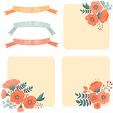 Vintage Floral Set. Card with flowers and ribbons Stock Images