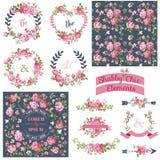 Vintage Floral Set Stock Photos