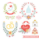 Vintage floral set with wedding items Royalty Free Stock Image