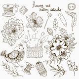 Vintage floral and sewing details, accessories collection Royalty Free Stock Photos