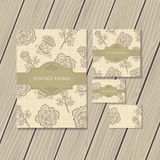 Vintage floral stationery Royalty Free Stock Photos
