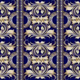 Vintage floral striped damask seamless pattern. Modern dark blue Royalty Free Stock Images