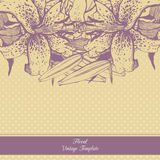 Vintage floral template. Lilies Royalty Free Stock Images