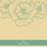 Vintage floral template. Poppies. Vector background with linear fllowers illustration Stock Images