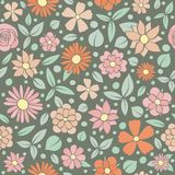 Vintage floral texture. Seamless pattern with hand drawn flowers. Mother`s Day, Women`s Day and Valentine`s Day. royalty free stock photo