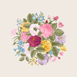 Vintage floral vector bouquet Stock Photos