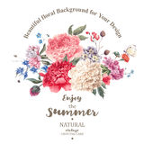 Vintage floral vector bouquet of peonies and garden flowers Stock Image