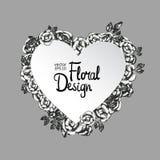Vintage floral vector frame. Heart shape Stock Images