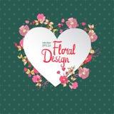 Vintage floral vector frame. Heart shape Royalty Free Stock Image
