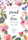 Vintage floral vector roses wedding invitation. Vintage floral vector wedding invitation with English roses and wildflowers, botanical natural rose Illustration royalty free illustration