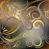 Vintage floral vector seamless pattern. Glowing elegance ornamen. Tal background. Beautiful hand drawn line art tracery ornament. Geometric shapes, swirls, dots vector illustration