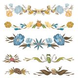 Vintage Floral Vector Vignettes Set Royalty Free Stock Photography
